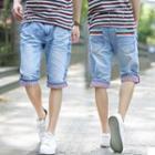 Contrast-trim Denim Shorts