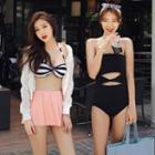 Cut Out Swimsuit / Set: Striped Bikini Top + Swim Skirt