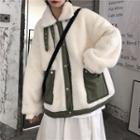 Buckled Fleece Button Jacket White - One Size