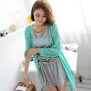 Open-knit Long Cardigan