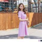 Crochet Trim Short-sleeve Plain Dress