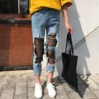 Distressed Mesh Panel Jeans