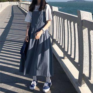 A-line Midi Dungaree Dress
