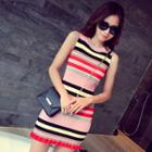 Striped Sleeveless Knit Sheath Dress