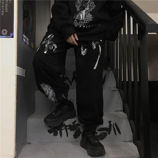Printed Drawstring-cuff Sweatpants
