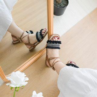 Patterned Embroidered Tasseled Sandals