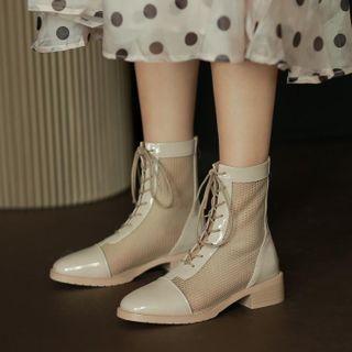 Mesh Panel Lace-up Block Heel Short Boots