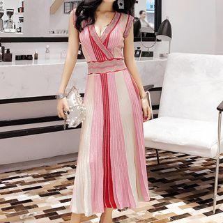 Sleeveless Striped A-line Midi Knit Dress