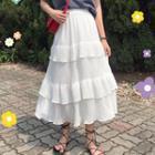 A-line Tiered Midi Skirt
