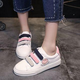 Smiley Adhesive Strap Faux Leather Sneakers