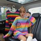Printed Striped Long-sleeve Oversize T-shirt