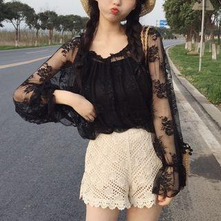 Set: Lace Sheer Top + Camisole