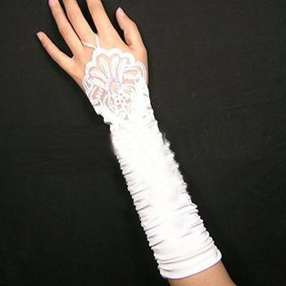 Lace Satin Fingerless Bridal Gloves