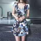 Cap-sleeve V-neck Floral Dress