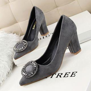 Faux-suede Jeweled Pumps