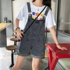 Ripped Rolled Wide-leg Dungaree Shorts