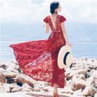 Open Back Lace Cap-sleeve Maxi Dress