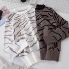 Zebra Printed Knit Top