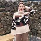 Patterned Turtleneck Long-sleeve Knit Top
