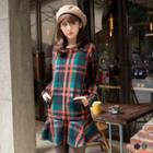 Long-sleeve Ruffle-hem Plaid Dress