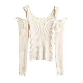 Twist Cold-shoulder Knit Top