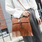 Faux Leather Fringed Crossbody Bag