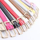 Color Faux Leather Slim Belt