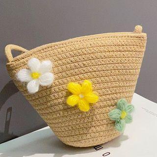 Floral Woven Crossbody Bag