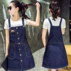 Buttoned Denim Pinafore Dress