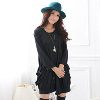 Button Front Long Sleeve Dress