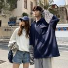 Couple Matching Mock Two-piece Striped Panel Sweatshirt