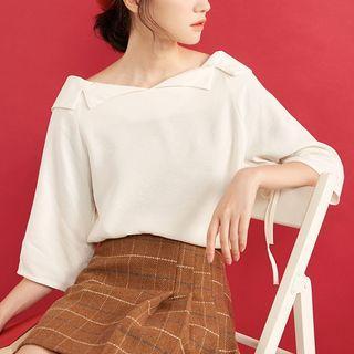 3/4-sleeve Off-shoulder Plain Top
