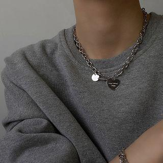 Alloy Heart Pendant Necklace  - One Size