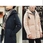 Hooded Plain Long Down Coat