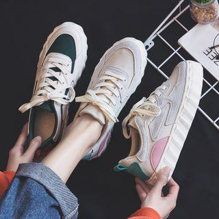 Contrast Color Panel Platform Sneakers