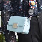 Flower Applique Faux Leather Shoulder Bag