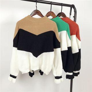 Mock Neck Color Block Knit Top