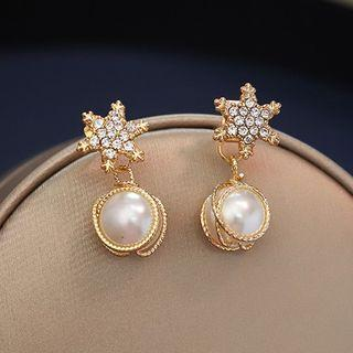 Faux Pearl Rhinestone Star Earring 1 Pair - S925 Silver Needle - As Shown In Figure - One Size