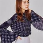 Bell-sleeve Polka-dot Blouse