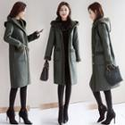 Faux Leather Hooded Coat