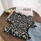 Floral Print Off-shoulder Short-sleeve Blouse Black - One Size