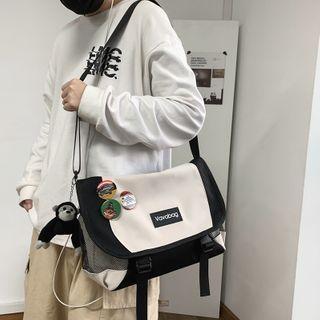 Mesh Panel Lettering Messenger Bag