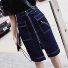 High Waist Front Zip Midi Denim Skirt