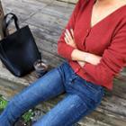V-neck Rib-knit Cropped Cardigan