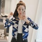 Patterned Knit Zip Jacket