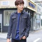 Flap-pocket Washed Denim Shirt