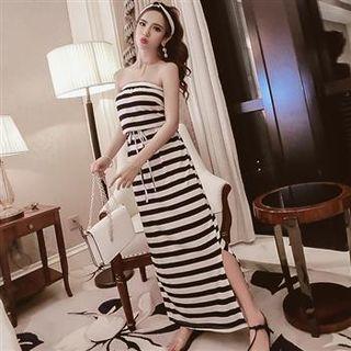 Strapless Drawstring Striped Maxi Dress Black - One Size