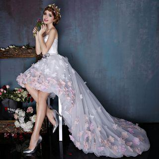 Floral Strapless High Low Trained Evening Gown
