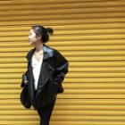 Notch Lapel Faux Leather Jacket