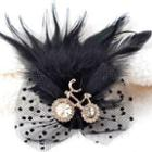 Rhinestone Bicycle Feather Brooch